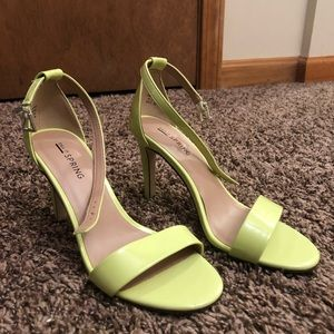 Lime Greenish yellowish strappy heels